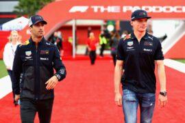 Daniel Ricciardo & Max Verstappen of Red Bull Racing walk during previews ahead of the Spanish Formula One Grand Prix at Circuit de Catalunya 2018.