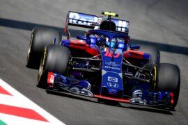 Pierre Gasly of Scuderia Toro Rosso driving the (10) Scuderia Toro Rosso STR13 Honda on track during practice for the Spanish GP F1/2018.