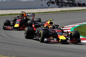 Max Verstappen of the Netherlands leads Daniel Ricciardo on track during the Spanish GP F1/2018.
