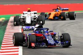 Brendon Hartley of Scuderia Toro Rosso STR13 Honda on track during the Spanish Formula One Grand Prix 2018.