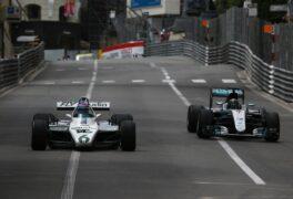 Keke Rosberg, Williams FW07 & Nico Rosberg, Mercedes W07 driving their championship car in Monaco (2018)