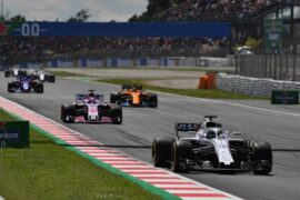 Circuit de Barcelona-Catalunya, Spain. Sunday, 13 May 2018. Lance Stroll, Williams FW41 Mercedes, leads Sergio Perez, Force India VJM11 Mercedes, and Stoffel Vandoorne, McLaren MCL33 Renault.