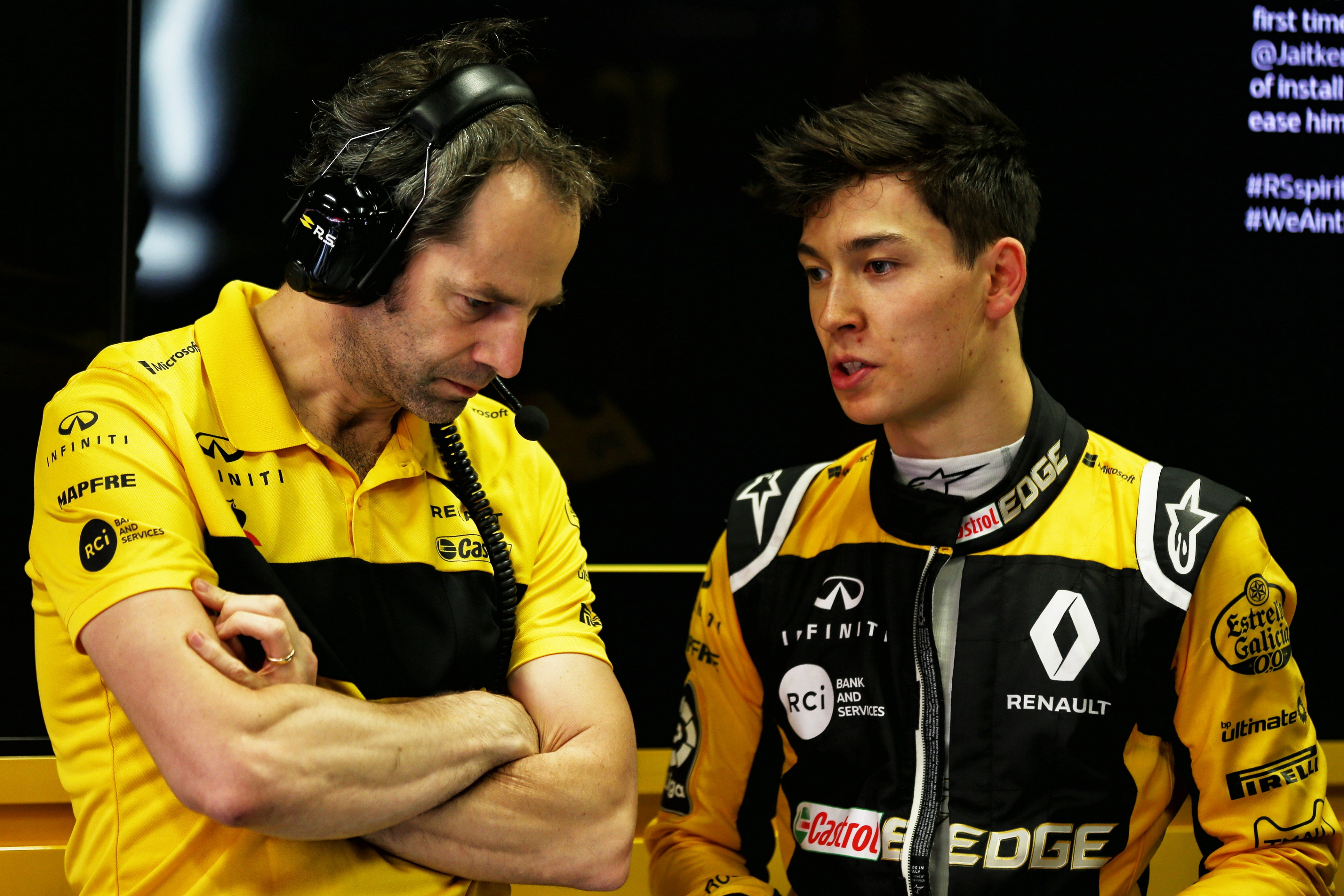 Ciaron Pilbeam Renault Sport F1 Team Chief Race Engineer with Jack Aitken Renault Sport F1 Team Test and Reserve Driver. Formula One In Season Testing, Day 2, Wednesday 16th May 2018. Barcelona, Spain.