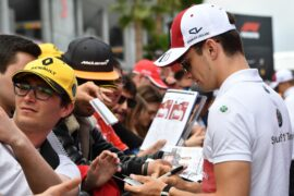 Charles Leclerc Sauber F1 Team signs autographs for the fans at Formula One World Championship, Spanish Grand Prix 2018