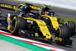 Nico Hulkenberg Renault Sport F1 Team RS18 and team mate Carlos Sainz Jr Renault Sport F1 Team RS18. Spanish GP F1/2018