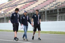 Sergio Perez Sahara Force India F1 walks the circuit with the team. Spanish GP F1/2018.