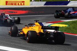 Fernando Alonso (McLaren MCL33) behind Charles Leclerc (Sauber C37)