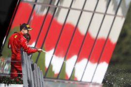 Sebastian Vettel celebrates his 3rd place finish of the 2018 Austrian GP