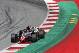 Romain Grosjean driving the Haas VF-17 with Ferrari engine at the Red Bull Ring