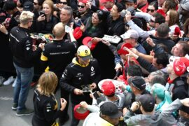 Carlos Sainz Jr (ESP) Renault Sport F1 Team and Nico Hulkenberg (GER) Renault Sport F1 Team sign autographs for the fans. Canadian Grand Prix, Thursday 7th June 2018. Montreal, Canada.
