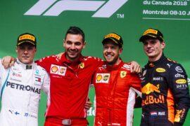 Winners Canadian GP F1/2018 Sebastian Vettel, Valtteri Bottas and Max Verstappen