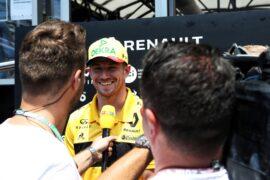 Nico Hulkenberg (GER) Renault Sport F1 Team with the media. French Grand Prix, Thursday 21st June 2018. Paul Ricard, France.