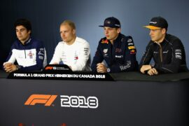 The Drivers Press Conference with Lance Stroll of Williams, Valtteri Bottas of Mercedes GP, Max Verstappen of Red Bull Racing and Stoffel Vandoorne of McLaren F1 during previews ahead of the Canadian Formula One Grand Prix at Circuit Gilles Villeneuve on June 7, 2018 in Montreal, Canada.
