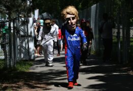A Brendon Hartley of Scuderia Toro Rosso fan walks around the circuit during final practice for the Canadian Formula One Grand Prix at Circuit Gilles Villeneuve on June 9, 2018 in Montreal, Canada.