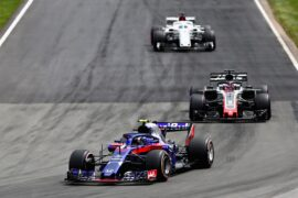 Pierre Gasly of France and Scuderia Toro Rosso driving the (10) Scuderia Toro Rosso STR13 Honda leads Romain Grosjean of France driving the (8) Haas F1 Team VF-18 Ferrari on track during the Canadian Formula One Grand Prix at Circuit Gilles Villeneuve on June 10, 2018 in Montreal, Canada.