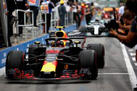 Third place finisher Max Verstappen of Red Bull Racing pulls into parc ferme during the Canadian Formula One Grand Prix at Circuit Gilles Villeneuve on June 10, 2018 in Montreal, Canada.