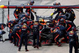 Max Verstappen driving the (33) Aston Martin Red Bull Racing RB14 TAG Heuer makes a pitstop for new tyres during the Canadian Formula One Grand Prix 2018