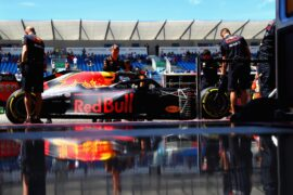 Daniel Ricciardo of Australia driving the (3) Aston Martin Red Bull Racing RB14 TAG Heuer stops outside his garage during practice for the Formula One Grand Prix of France at Circuit Paul Ricard 2018