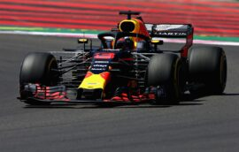 Daniel Ricciardo of Australia driving the (3) Aston Martin Red Bull Racing RB14 TAG Heuer on track during practice for the Formula One Grand Prix of France at Circuit Paul Ricard 2018
