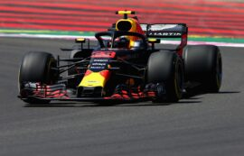Max Verstappen driving the (33) Aston Martin Red Bull Racing RB14 TAG Heuer on track during practice for the Formula One Grand Prix of France at Circuit Paul Ricard 2018