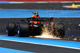Sparks fly behind Max Verstappen of the Netherlands driving the (33) Aston Martin Red Bull Racing RB14 TAG Heuer on track during practice for the Formula One Grand Prix of France at Circuit Paul Ricard 2018
