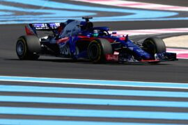 Brendon Hartley of New Zealand driving the (28) Scuderia Toro Rosso STR13 Honda on track during practice for the Formula One Grand Prix of France at Circuit Paul Ricard on June 22, 2018 in Le Castellet, France.