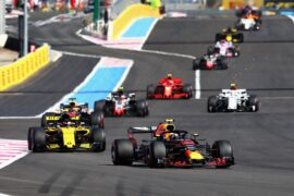 Max Verstappen of the Netherlands driving the (33) Aston Martin Red Bull Racing RB14 TAG Heuer leads Carlos Sainz of Spain driving the (55) Renault Sport Formula One Team RS18 on track during the Formula One Grand Prix of France at Circuit Paul Ricard on June 24, 2018 in Le Castellet, France.