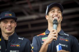 "Daniel Ricciardo and Max Verstappen during ""Schlossberg greets Spielberg"" in Graz, Austria on June 27, 2018"