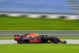 Max Verstappen of the Netherlands driving the (33) Aston Martin Red Bull Racing RB14 TAG Heuer on track during practice for the Formula One Grand Prix of Austria at Red Bull Ring on June 29, 2018 in Spielberg, Austria.