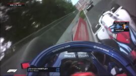 Lance Stroll squeezes the Toro Rosso of Breandon Hartley