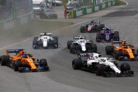 Drivers on track Canadian GP F1/2018. Lance Stroll, Williams FW41 Mercedes, leads Fernando Alonso, McLaren MCL33 Renault, Stoffel Vandoorne, McLaren MCL33 Renault, and Sergey Sirotkin, Williams FW41 Mercedes, at the start.