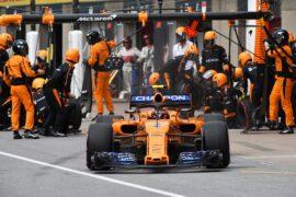 Circuit Gilles-Villeneuve, Montreal, Canada Sunday 10 June 2018. Stoffel Vandoorne, McLaren MCL33 Renault, leaves his pit box after a stop.