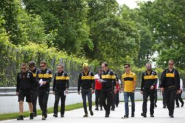 Carlos Sainz Jr (ESP) Renault Sport F1 Team and Jack Aitken (GBR) / (KOR) Renault Sport F1 Team Test and Reserve Driver walk the circuit with the team. Canadian Grand Prix, Thursday 7th June 2018. Montreal, Canada.
