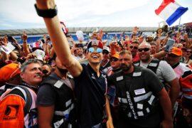 Esteban Ocon (FRA) Sahara Force India F1 Team with fans. French Grand Prix, Thursday 21st June 2018. Paul Ricard, France.