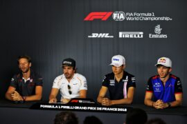 The FIA Press Conference Romain Grosjean Haas F1 Team; Fernando Alonso McLaren; Esteban Ocon Sahara Force India F1 Team; Pierre Gasly Scuderia Toro Rosso. French Grand Prix 2018
