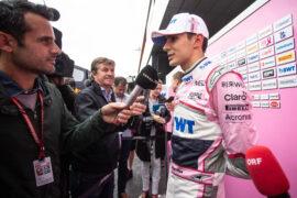 Esteban Ocon (FRA) Sahara Force India F1 Team with the media. Austrian Grand Prix, Thursday 28th June 2018. Spielberg, Austria.