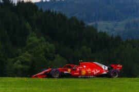 Kimi Raikkonen racing the Ferrari SF71H, 2018 Austrian GP