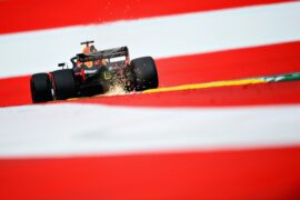 SPIELBERG, AUSTRIA - JUNE 29: Sparks fly behind Daniel Ricciardo of Australia driving the (3) Aston Martin Red Bull Racing RB14 TAG Heuer on track during practice for the Formula One Grand Prix of Austria at Red Bull Ring on June 29, 2018 in Spielberg, Austria. (Photo by Patrik Lundin/Getty Images)
