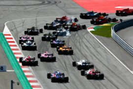 All cars going into turn 1`of the Red Bull Ring in Austra 2018 - 2