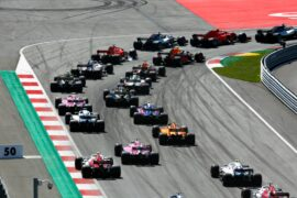 All cars going into turn 1`of the Red Bull Ring in Austra 2018