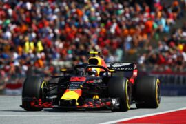 SPIELBERG, AUSTRIA - JULY 01: Max Verstappen of the Netherlands driving the (33) Aston Martin Red Bull Racing RB14 TAG Heuer on track during the Formula One Grand Prix of Austria at Red Bull Ring on July 1, 2018 in Spielberg, Austria. (Photo by Mark Thompson/Getty Images)