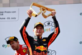 Race winner Max Verstappen celebrates on the podium during the Formula One Grand Prix of Austria at Red Bull Ring