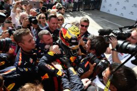 Race winner Max Verstappen and Red Bull Racing celebrates in parc ferme during the Formula One Grand Prix of Austria at Red Bull Ring