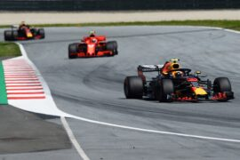 SPIELBERG, AUSTRIA - JULY 01: Max Verstappen of the Netherlands driving the (33) Aston Martin Red Bull Racing RB14 TAG Heuer leads Kimi Raikkonen of Finland driving the (7) Scuderia Ferrari SF71H on track during the Formula One Grand Prix of Austria at Red Bull Ring on July 1, 2018 in Spielberg, Austria. (Photo by Patrik Lundin/Getty Images)