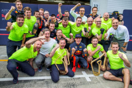 Max Verstappen celebrates with his crew during the Formula One Grand Prix of Austria at Red Bull Ring on July 1, 2018 in Spielberg, Austria