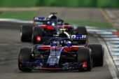 Pierre Gasly leads Brendon Hartley of New Zealand driving the (28) Scuderia Toro Rosso STR13 Honda on track during the Formula One Grand Prix of Germany 2018