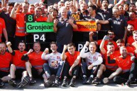 Romain Grosjean and the Haas team celebrate their P4 & P5 finish in the 2018 Austrian GP