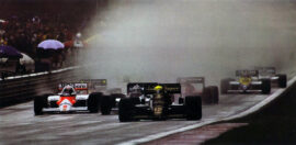 Start of the 1985 Belgian F1 GP. In front are Senna, (Lotus), Mansell (Williams) and Prost (McLaren)