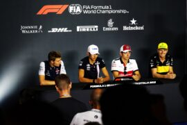 The FIA Press Conference (L to R): Sergey Sirotkin (RUS) Williams; Esteban Ocon (FRA) Racing Point Force India F1 Team; Charles Leclerc (MON) Sauber F1 Team; Nico Hulkenberg (GER) Renault Sport F1 Team. Italian Grand Prix, Thursday 30th August 2018. Monza Italy.
