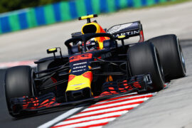 Max Verstappen of the Netherlands driving the (33) Aston Martin Red Bull Racing RB14 TAG Heuer on track during practice for the Formula One Grand Prix of Hungary at Hungaroring on July 27, 2018 in Budapest, Hungary.